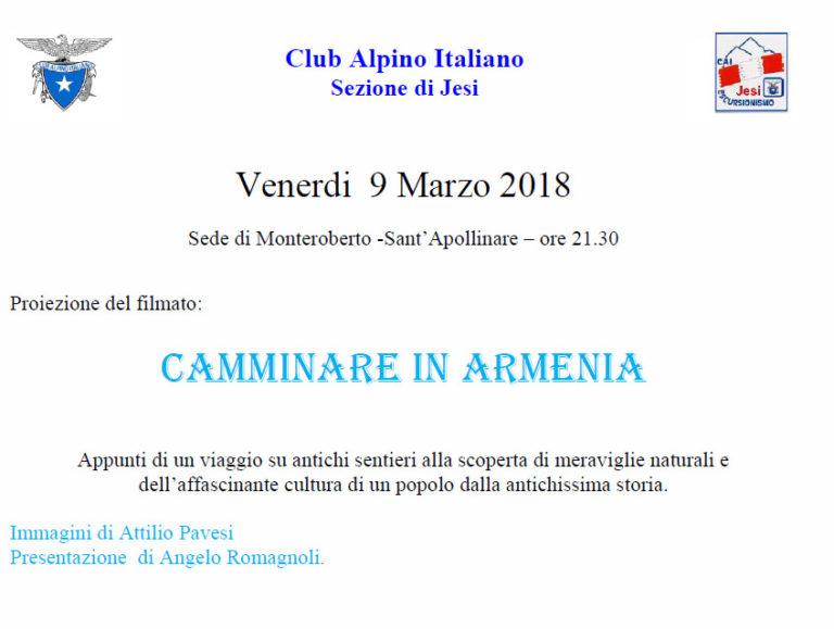 """9 Marzo 2018 – Proiezione """"camminare in Armenia"""""""