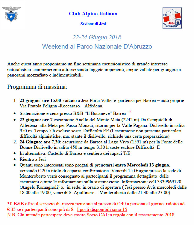 22-24 Giu 2018- Week-End Parco nazionale d'Abruzzo