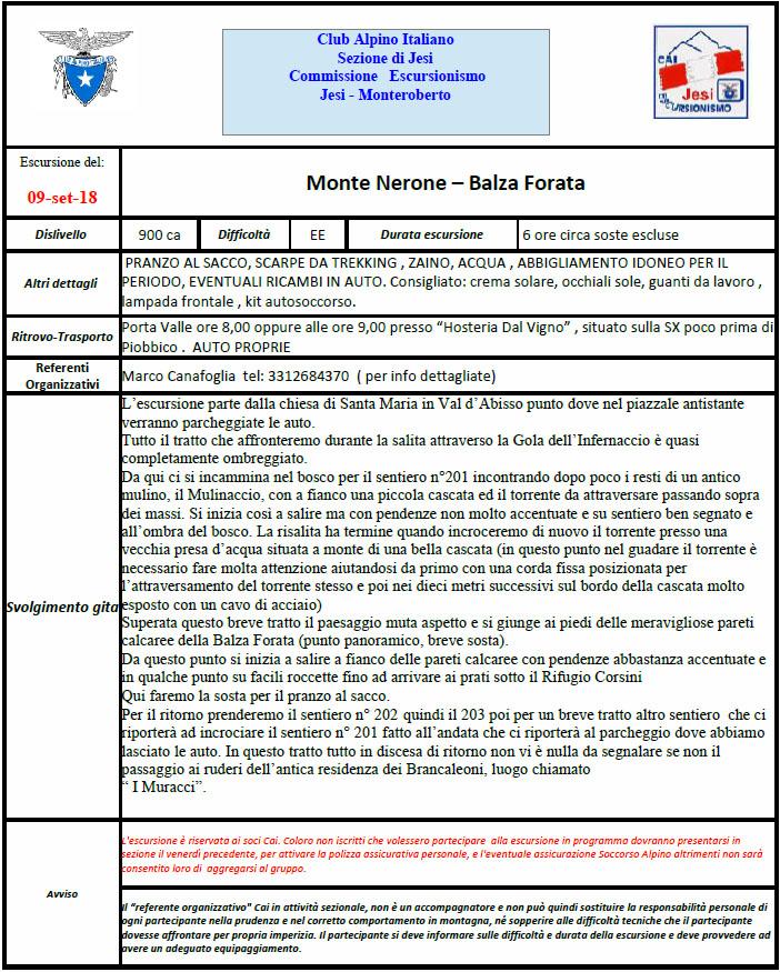 9 settembre 2018 – Balza Forata al Mt. Nerone