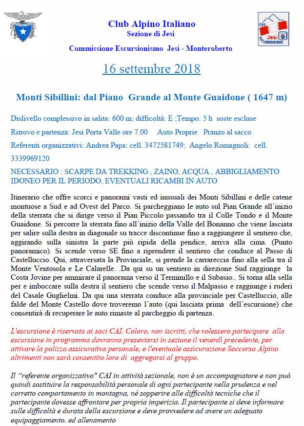 16 SETTEMBRE 2018 – Monte Guaidone