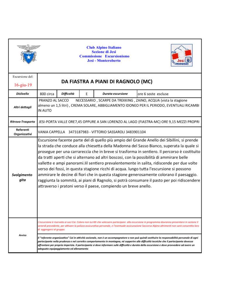16 Giugno 2019 – Mt. Sibillini dal Lago Fiastra ai piani di Ragnolo