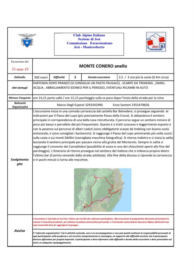 31 marzo Escursione su Monte Conero