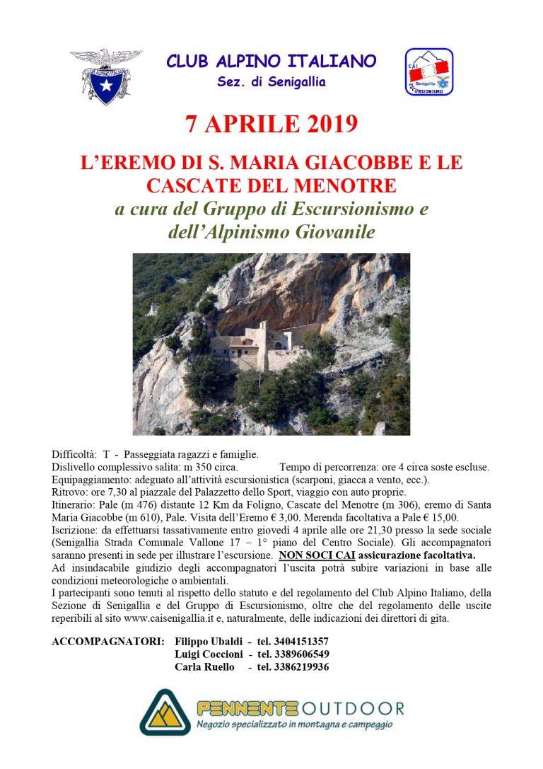 7 Aprile Passeggiata con famiglie con sez. Senigallia – Pale – Foligno – Alpinismo Giovanile