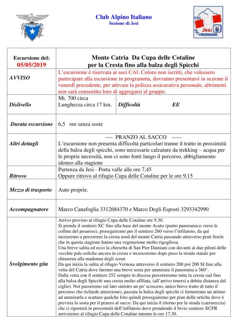5 maggio 2019 – Monte Catria annullato per maltempo