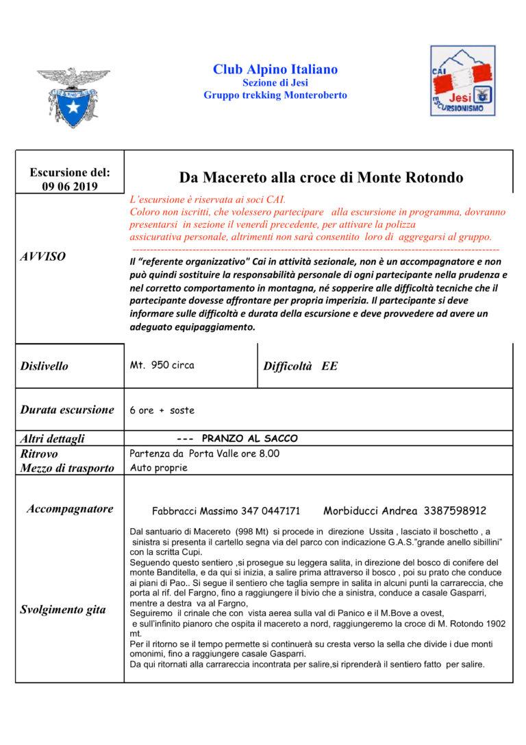 9 giugno Monti Sibillini da Macereto alla Croce di Monte Rotondo
