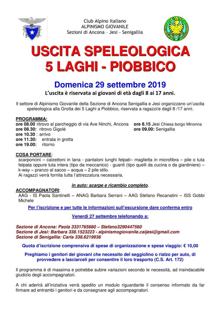 29 settembre escursione speleo Grotta Acquasanta Terme Alpinismo Giovanile
