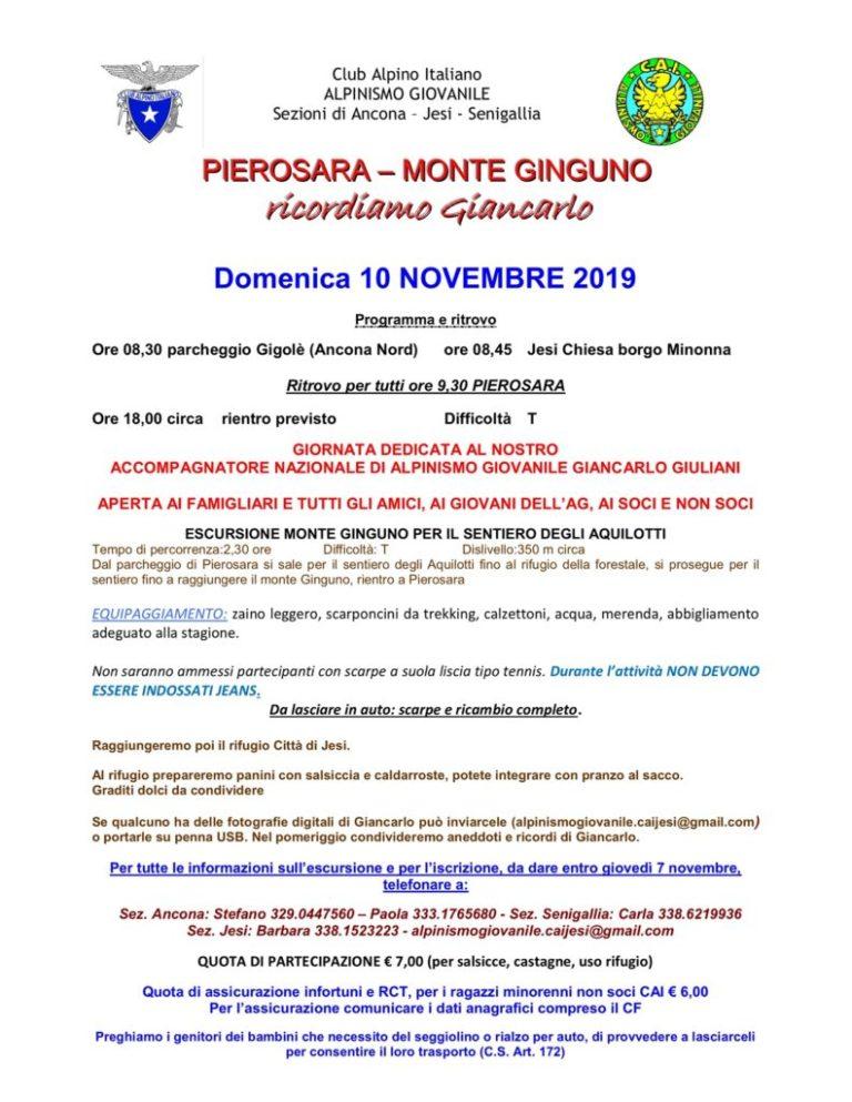 10 novembre – Pierosara Monte Ginguno – Ricordiamo Giancarlo
