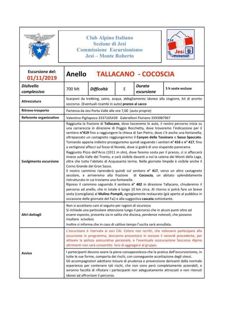 1 Nov. 2019 –  Anello      TALLACANO  – COCOSCIA