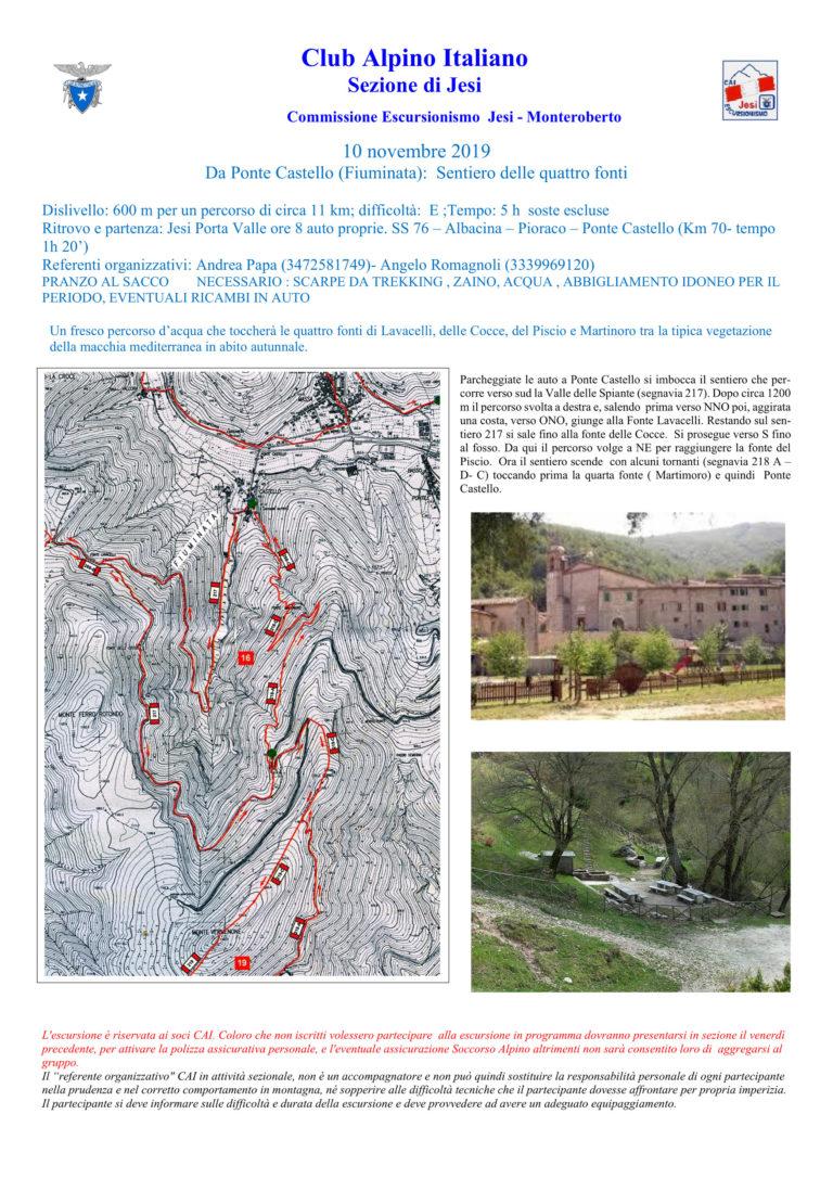 10 novembre Da Ponte Castello (Fiuminata) – Sentiero delle quattro fonti