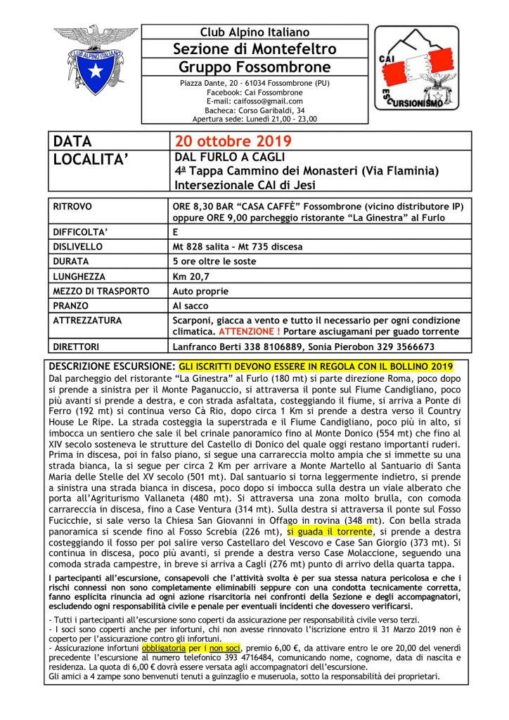 20 ottobre 2019 – intersez.  Cai Montefeltro – Dal Furlo A Cagli