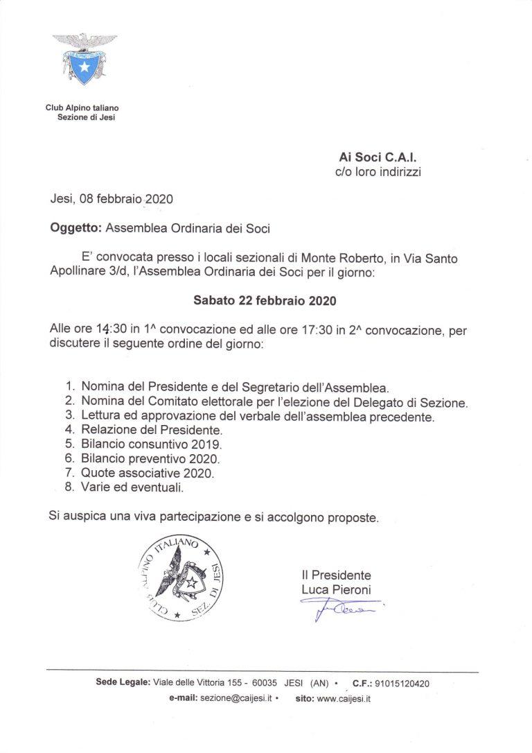 RINNOVO TESSERA CAI-PROGRAMMA 2020 -ASSEMBLEA ORDINARIA SOCI 22 Febbraio