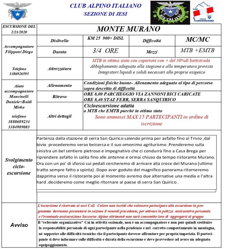Ciclo Escursionismo Monte Murano MC/MC 23 febbraio