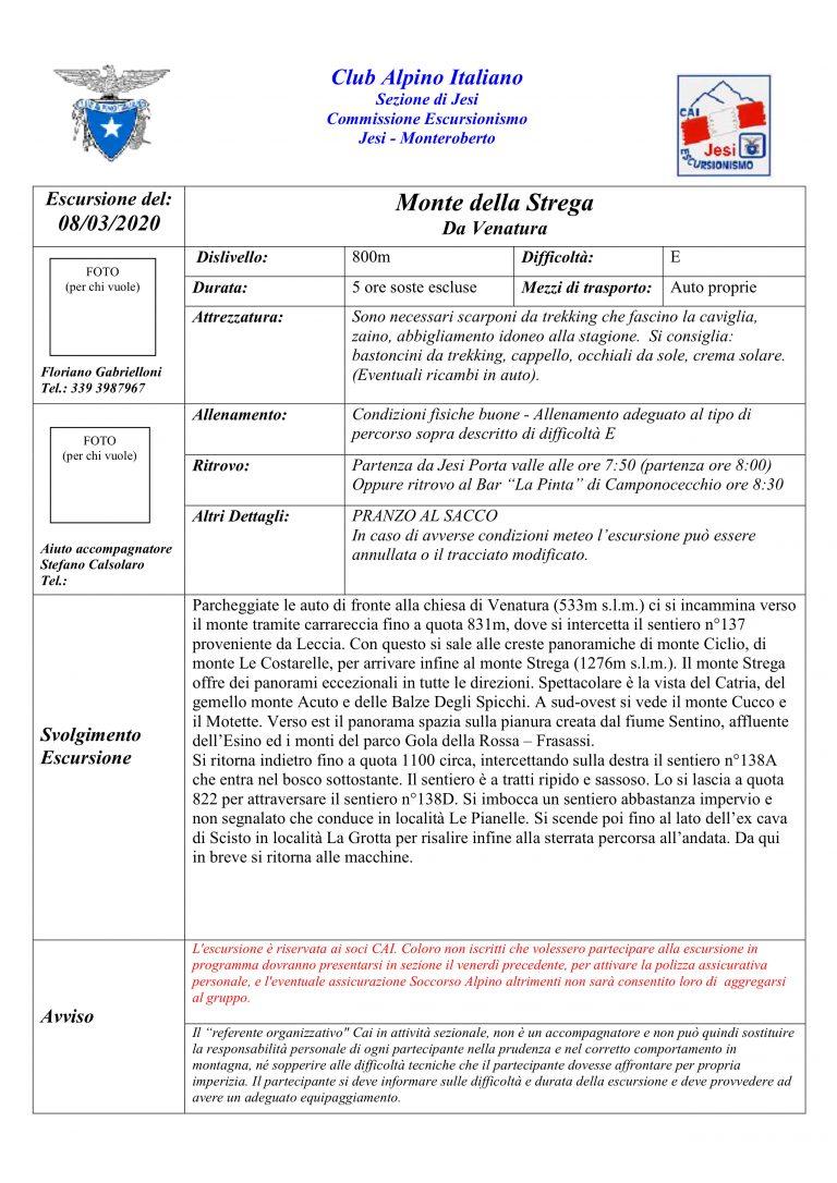 Domenica 8 marzo – Monte Strega