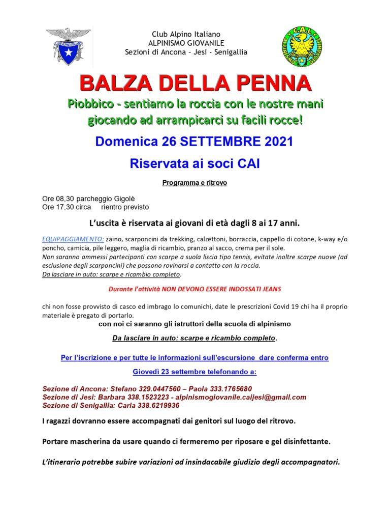 Alpinismo Giovanile Intersezionale domenica 26 settembre