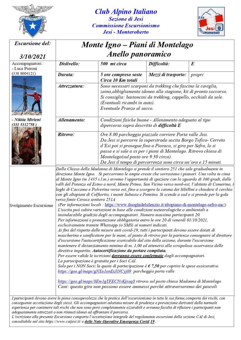 Monte Igno e piani di Montelago 3 ottobre