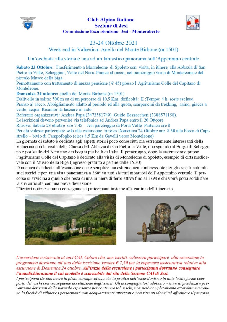 Weekend Monte Birbone 23-24 ottobre